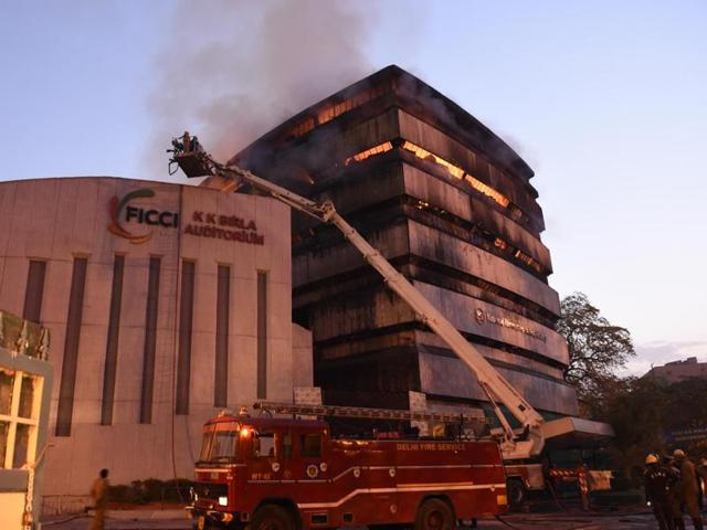 A fire broke out at the FICCI building in New Delhi in the early morning hours on April 26, 2016.