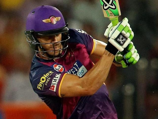 Faf du Plesis of Rising Pune Supergiants plays a shot during an IPL T-20 match in Hyderabad.