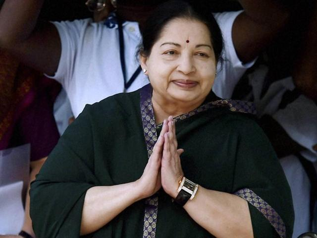 Tamil Nadu chief minister and AIADMK chief J Jayalalithaa, after filing nomination papers for upcoming state assembly polls, at Tondiarpet zonal office in Chennai.