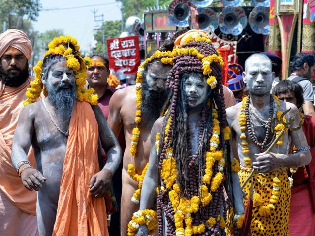 A large number of devotees gather to take bath in holy river Kshipra  in Ujjain.