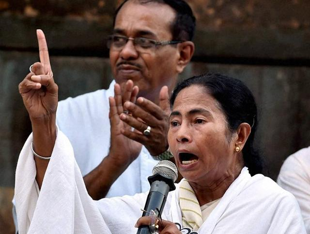 West Bengal chief minister Mamata Banerjee gestures during her election campaign in Kolkata on Monday.
