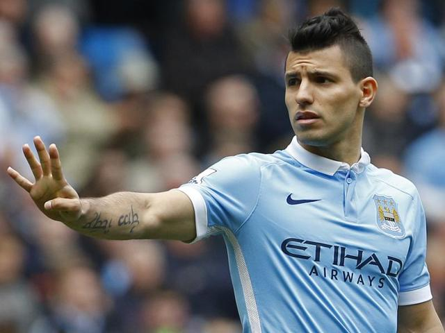 Manchester City's Sergio Aguero in action during the Premier League.