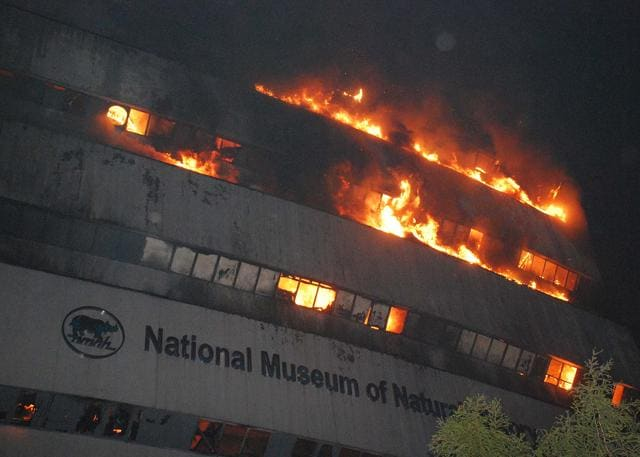 A  fire early Tuesday engulfed the Ficci auditorium in central Delhi.Photo by Ashok Nigam /HT
