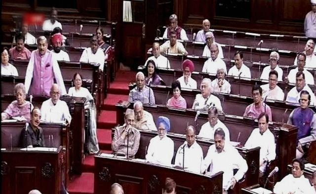 Members of opposition in the Rajya Sabha in New Delhi on Tuesday.