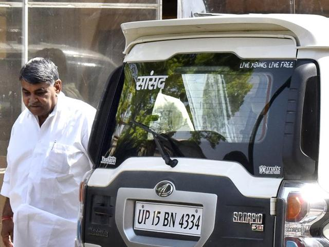 BJP Rajya Sabha MP Narayan Lal Panchariya from Rajasthan violated the odd-even rule by reaching the Parliament in his even-numbered car on attending the first day of the second half of the budget session in the parliament house. ( Photo by Sonu Mehta/ Hindustan Times)