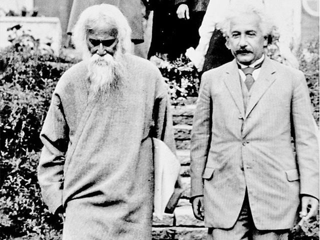 A file photo of Rabindranath Tagore visiting Albert Einstein at his summer house in Germany in 1930.