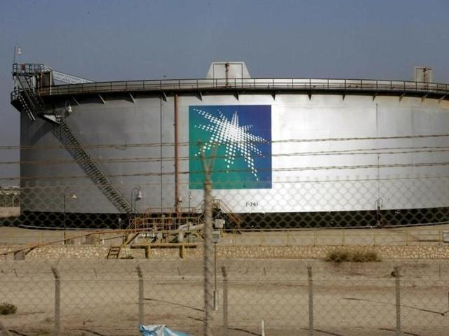 An oil tank is seen at the Saudi Aramco headquarters during a media tour at Damam city.