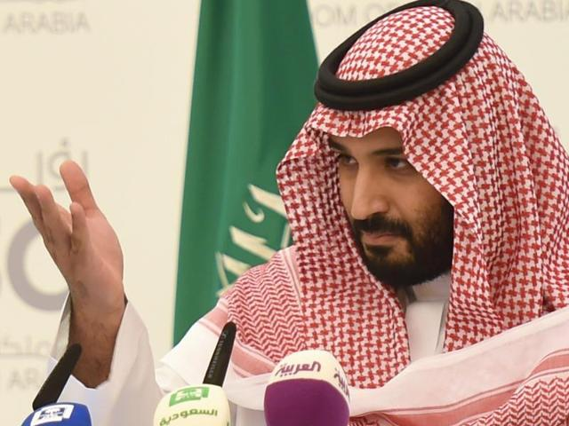 Saudi Defense minister and deputy crown prince Mohammed bin Salman speaks during a press conference in Riyadh.