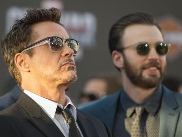 Actors Chris Evans and Robert Downey Jr attend the premiere of Marvel's Captain America: Civil War at Dolby Theatre on April 12, 2016 in Los Angeles, California.