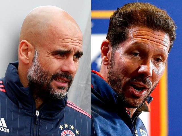 The Champions League semifinal, first leg clash between Atletico Madrid and Bayern Munich sees two of the world's best coaches in Diego Simeone, right, and Pep Guardiola put their very different football philosophies to the test.