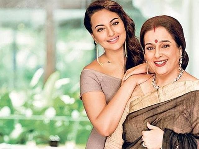 Actor Sonakshi with her mother Poonam Sinha. (HT Photo)