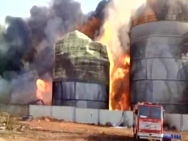 Storage tanks at a bio-diesel manufacturing plant in Visakhapatnam special economic zone caught fire on Tuesday evening.