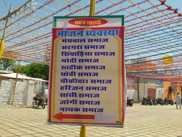 Dalit rights campaigners alleged that signboards were placed at the temple directing people to different counters based on their caste to pick up prasad and food.