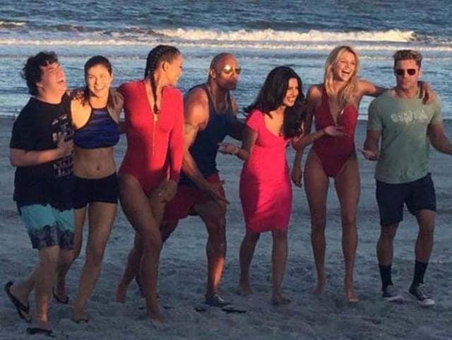 We can see the lifeguards, played by Efron, The Rock, Daddario, Kelly Rohrbach, Ilfenesh Hadera and Jon Bass, and also Priyanka Chopra's villainous Victoria.