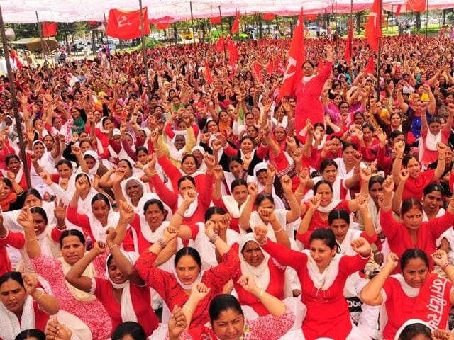 Anganwadi workers have been agitating for long in support of their demands across the state. ht file