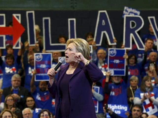 US Democratic presidential candidate Hillary Clinton addresses the crowd at a campaign rally at Nashua Community College, in Nashua, New Hampshire.