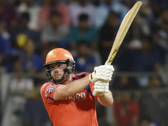 Gujarat Lions' Aaron Finch in action during the IPL match against Mumbai Indians at the Wankhede Stadium in Mumbai on April 16, 2016.