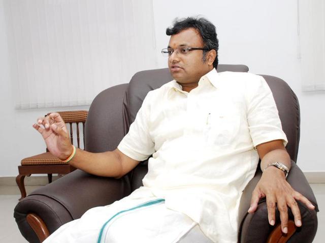A file photo of former home minister P Chidambaram's son,  Karti Chidambaram.
