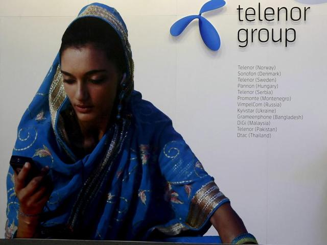 A Telenor Group poster. The company is reconsidering its strategy in India after running up huge losses