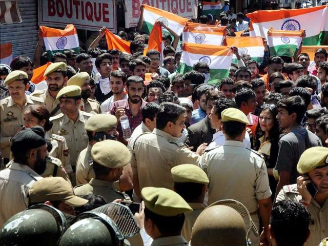 Students hold a protest rally to demonstrate against police action on the NIT Srinagar row, in Jammu.