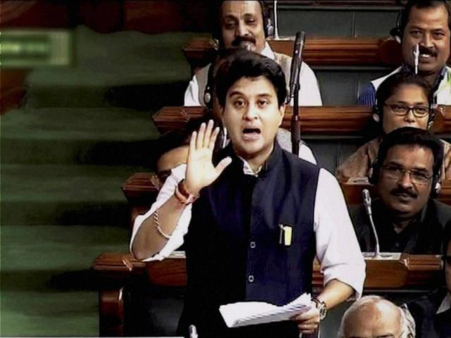Congress MP Jyotiraditya Scindia speaks in the Lok Sabha during the Winter Session of the Parliament.