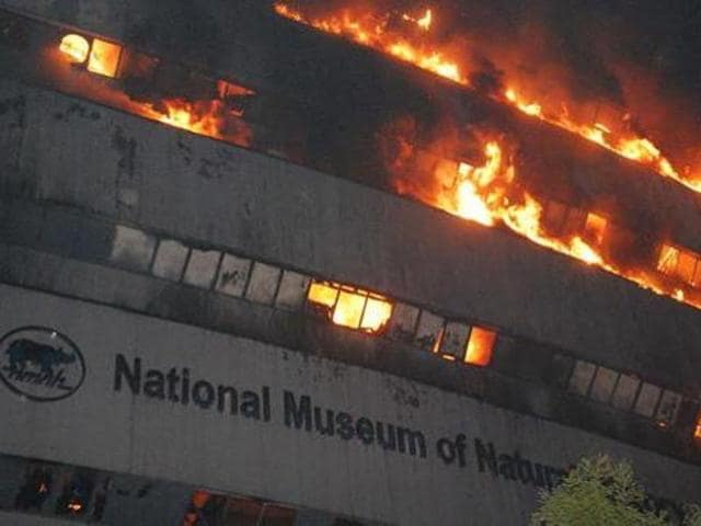 A fire broke out early on April 26 morning at the National Museum of Natural History, next to the Ficci, KK Birla Auditorium at Mandi House in New Delhi.