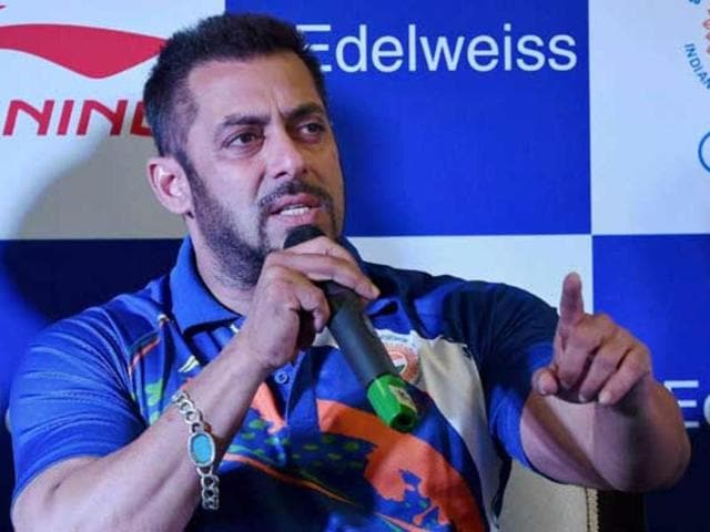 Bollywood actor Salman Khan speaks during a press conference.