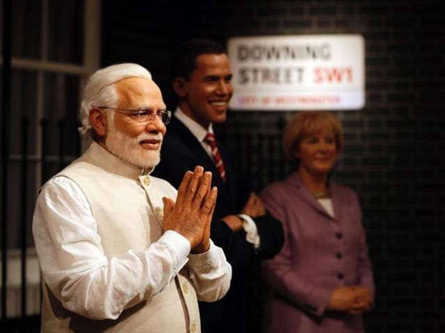The waxwork figure of Prime Minister Narendra Modi is unveiled during a photocall at Madame Tussauds in London on April 28, 2016.