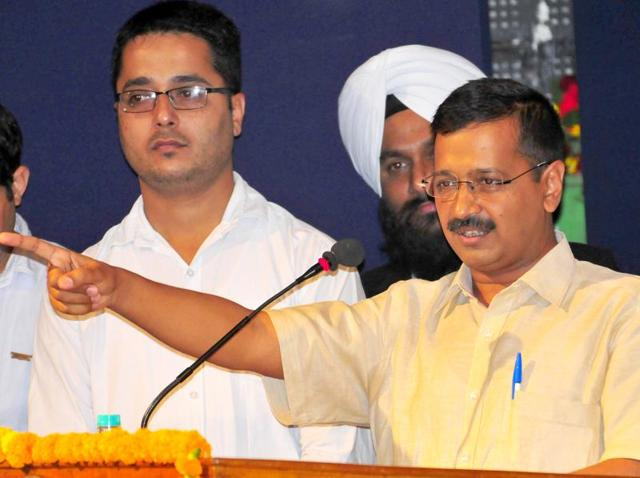 Delhi chief minister and Aam Aadmi Party (AAP) convener Arvind Kejriwal in Chandigarh on Thursday.