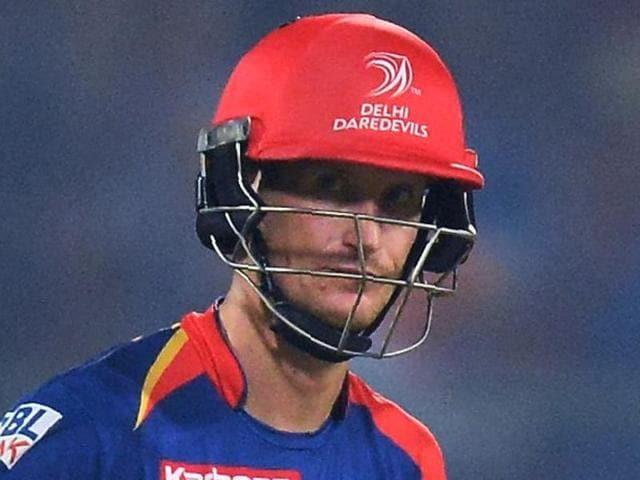 New Delhi: Delhi Daredevils batsman Chris Morris plays a shot against Gujarat Lions during an IPL T20 match.