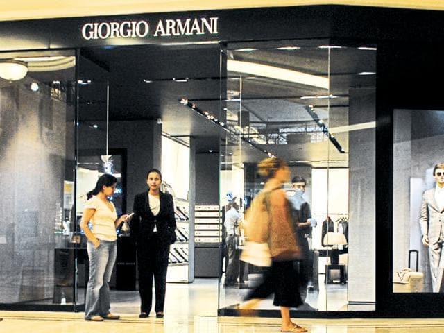 A Giorgio Armani store in New Delhi.