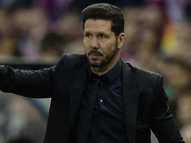 Atletico Madrid's Argentinian coach Diego Simeone gestures during the UEFA Champions League.