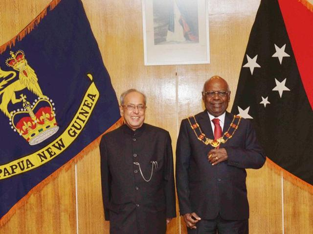 President Pranab Mukherjee with grand chief Sir Michael Ogio, governor general of Papua New Guinea, at the Government House in Port Moresby, Papua New Guinea.