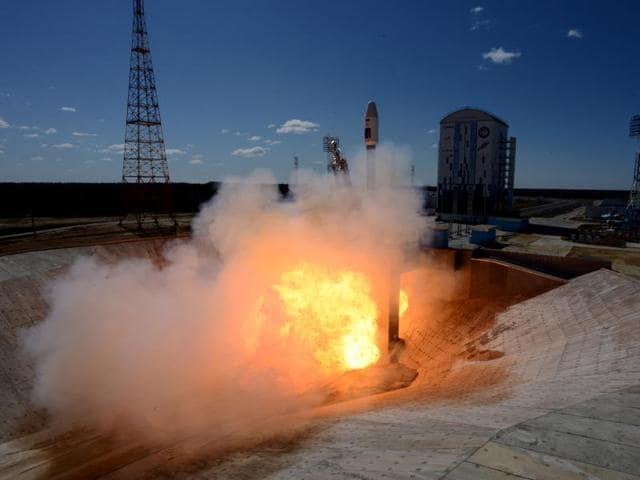 A Russian Soyuz 2.1a rocket.