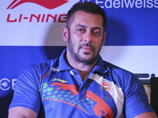 Salman Khan attends an event to announce him as the goodwill ambassador for Rio Olympics 2016.