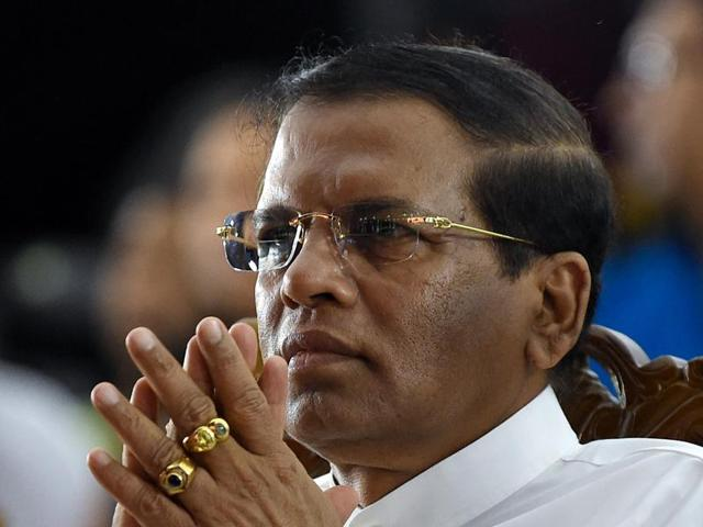 Sri Lanka's President Maithripala Sirisena watches a cultural show at Independence Square in Colombo.