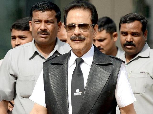 In this file photo, Sahara group's chairman, Subrata Roy, leaves the SEBI head office in Mumbai.