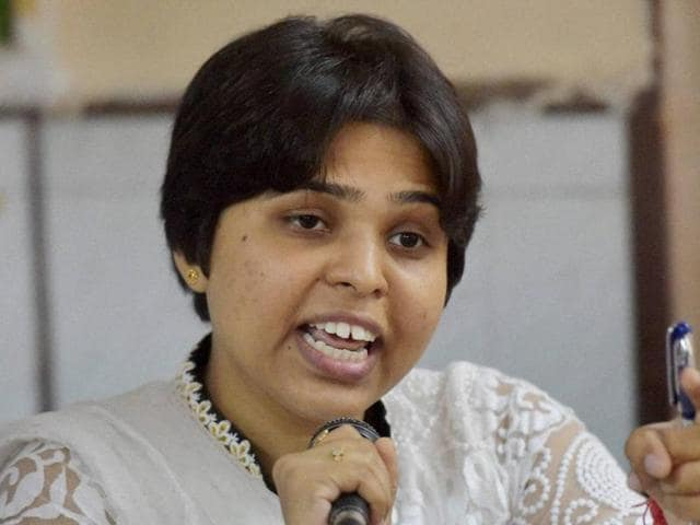 Activist Trupti Desai speaks at a  press conference in Mumbai on Wednesday.