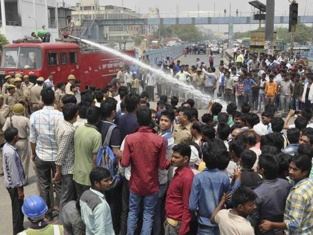 The protesters blocked traffic and alleged that Kumar was beaten to death by the  police.