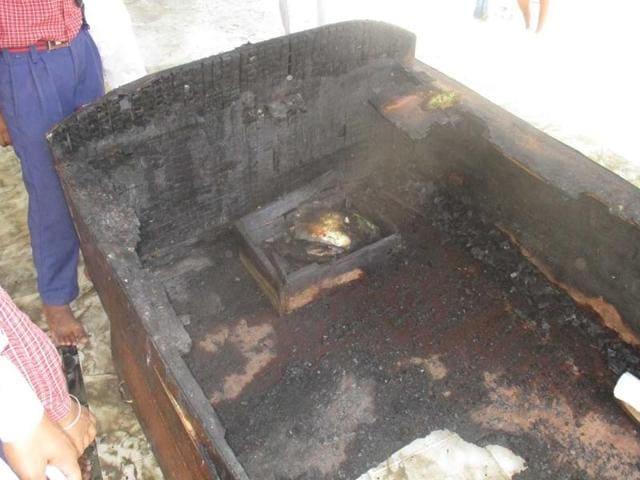 The burnt pedestal at the gurdwara in Makhu village, Ferozepur, on Friday.