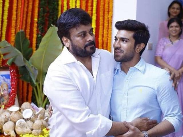 Chiranjeevi with son Ram Charan at the launch of his 150th film in Hyderabad.