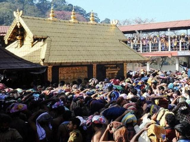 Ayyappa devotees throng at Sannidanam in Sabarimala.