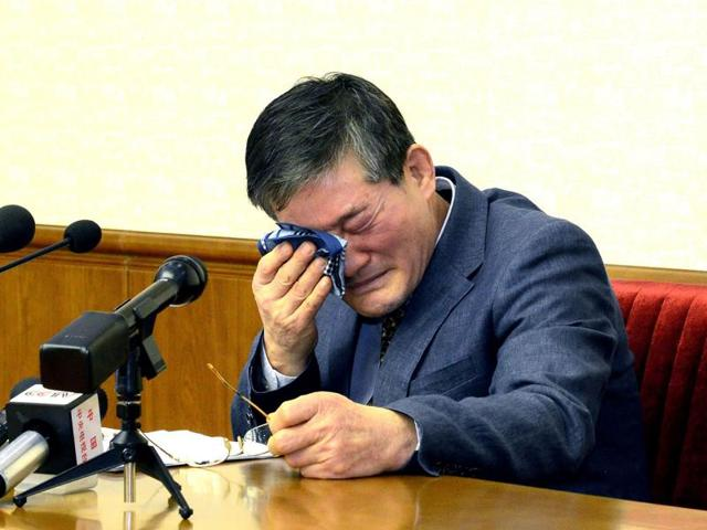 File picture of Kim Dong Chul, a Korean-American as he addresses a news conference in Pyongyang. North Korea on April 29, 2016 sentenced Chul to 10 years hard labour on charges of subversion and espionage.