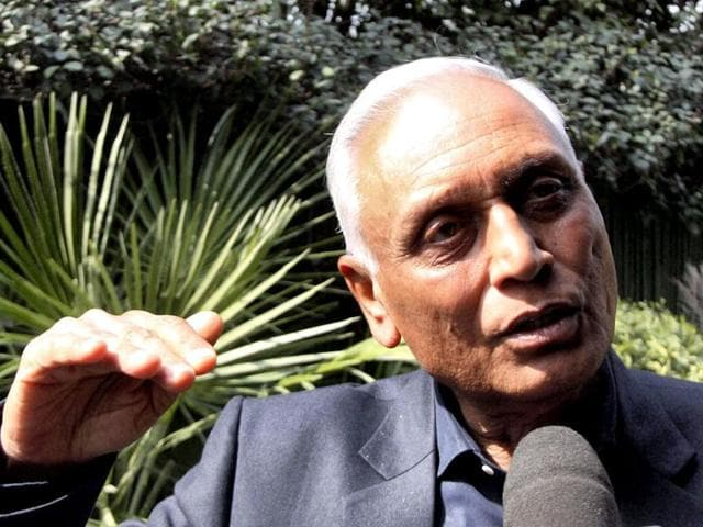 In this file photo, former Air Chief Marshal SP Tyagi speaks to the media at his residence in Gurgaon.