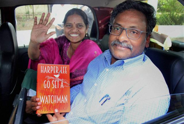 DU professor GN Saibaba, who was arrested for alleged links with Maoists, outside the Nagpur central jail.