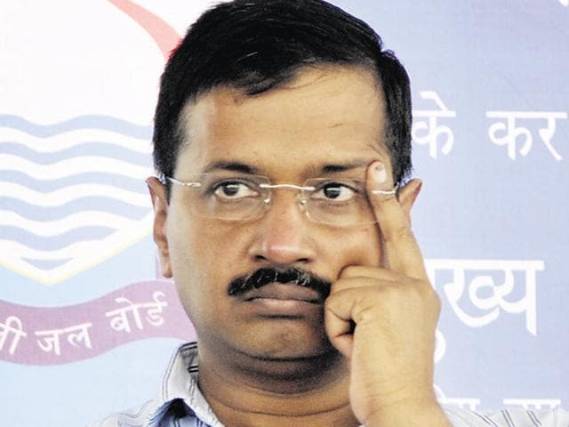 Delhi chief minister  Arvind Kejriwal addressing a gathering of lawyers in Chandigarh on  April 28,2016.