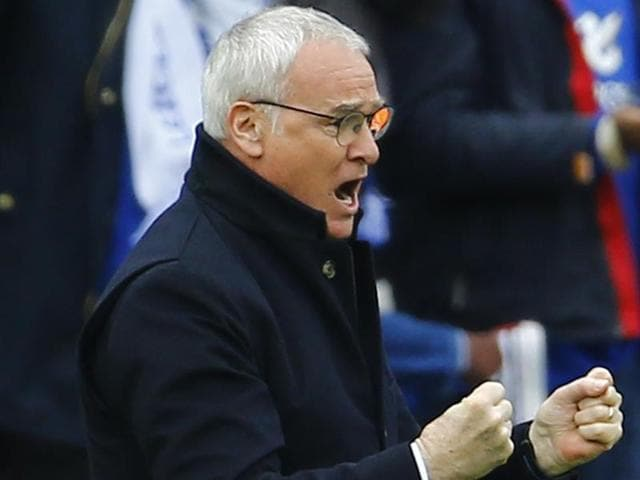 Leicester City manager Claudio Ranieri celebrates after his team's win against Crystal Palace.