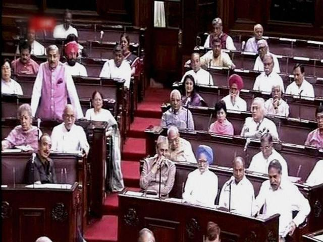 Members of opposition in the Rajya Sabha in New Delhi.