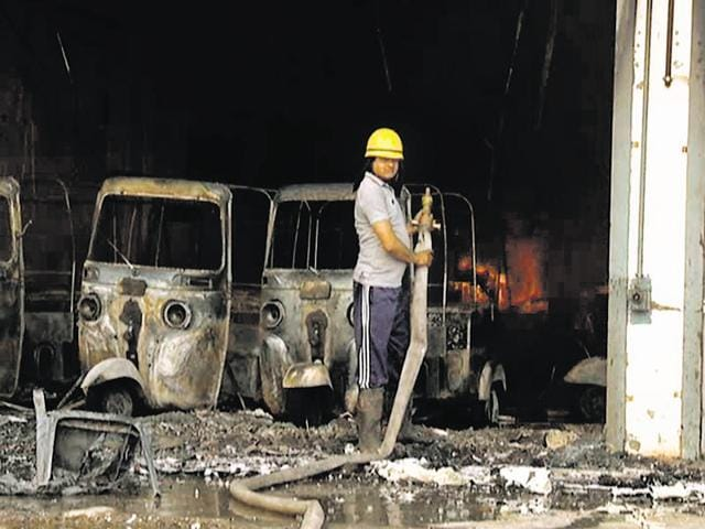 Property worth lakhs of rupees, including 10 autorickshaws, was damaged in the fire on Friday.