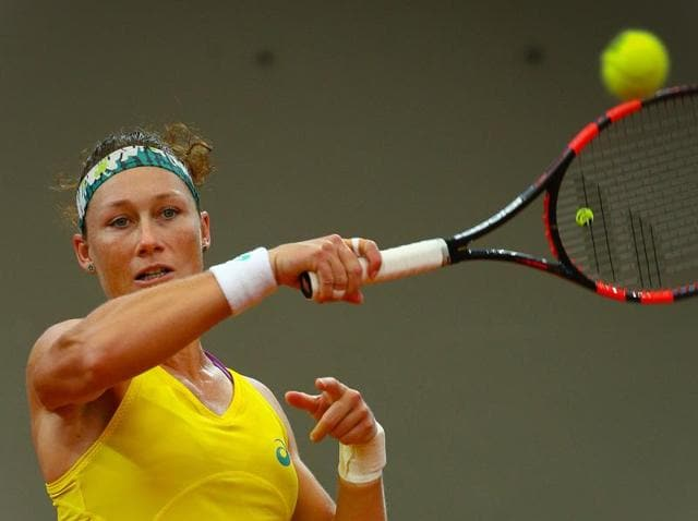 Sam Stosur will face either Karolina Pliskova or Lucie Safarova in the final.